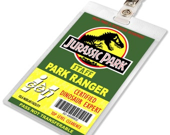 Jurassic Park / World Ranger ID Badge Name Tag Laminate Prop for Cosplay Costume