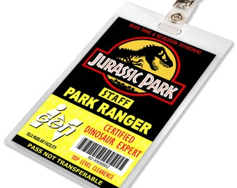 Jurassic Park / World Ranger ID Badge Name Tag Prop for Cosplay Costume