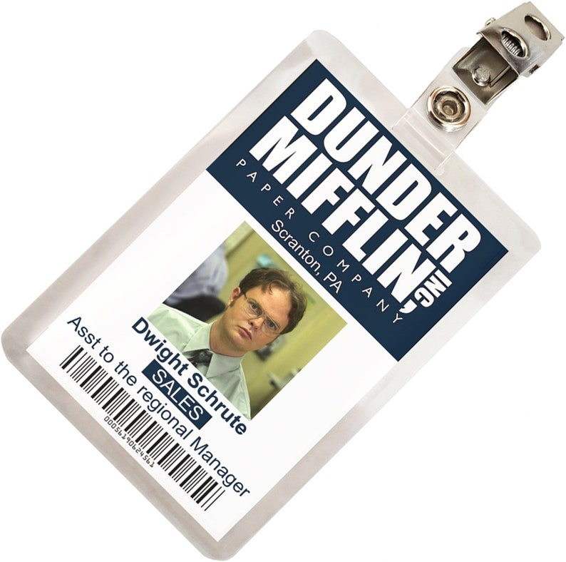 picture relating to Dunder Mifflin Name Tag Printable named The Business office Dwight Schrute Dunder Mifflin Identity Badge Cosplay Gown Status Tag Prop