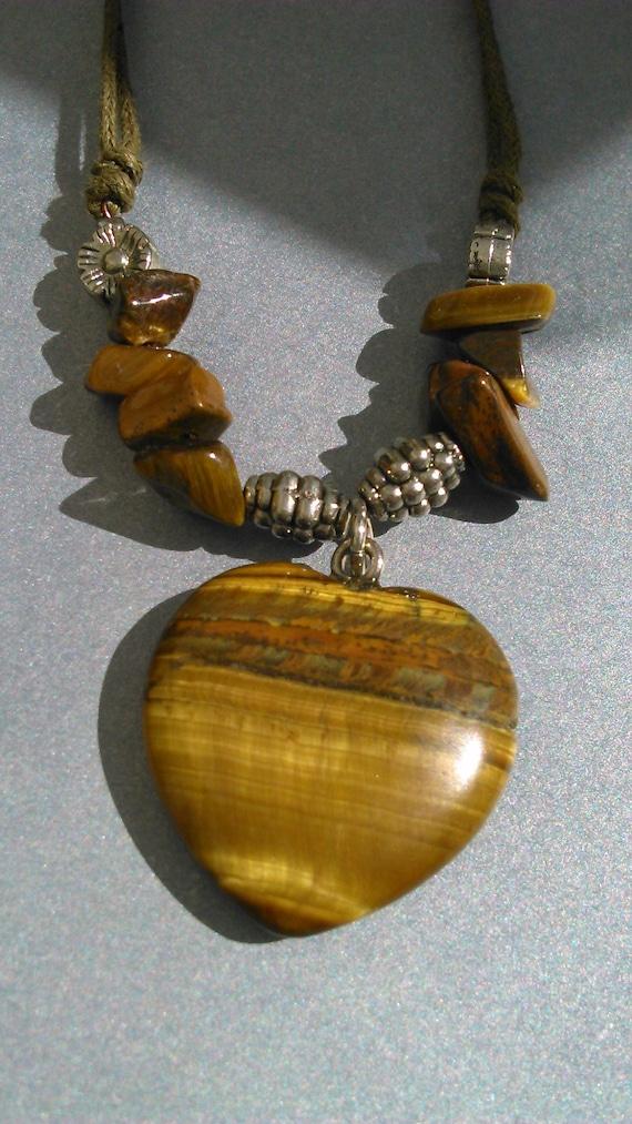 Tiger Eye   Heart Shaped  Stone  Pendant