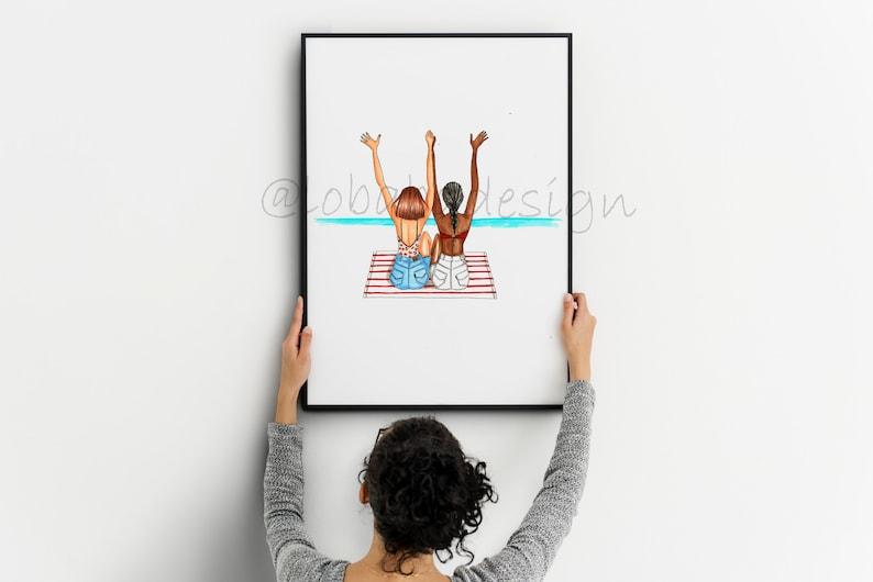 decoration fashion Illustration,print Bff print Gif for her Best friend forever fashion print Illustration digital download art wall