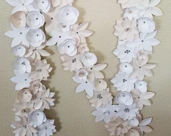 Items similar to handmade paper flowers vintage mint chocolate paper flower custom letter mightylinksfo