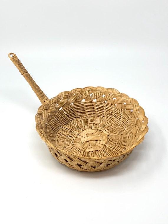 Vintage Woven Wicker Basket Boho Wicker Decor Boho Wall Basket Hanging Wall Basket Hanging Basket Bohemian Decor