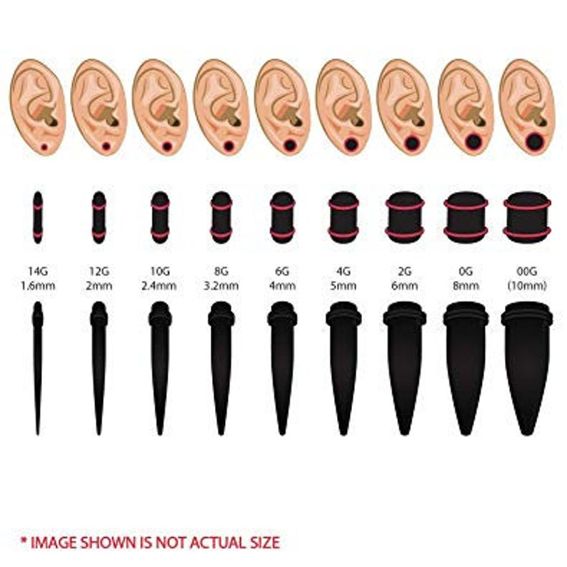 Ear Gauges Stretching Kit Black and Red 12G-00G Ear Expander Body Piercing Set Acrylic Tapers And Plugs with Double Rubber O-Rings 32PC