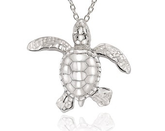 Turtle Necklace Sterling Silver- Miniature Turtle Pendant, Sea Turtle Gifts, Sterling Silver Turtle Charm Necklace, Gifts for Turtle Lovers