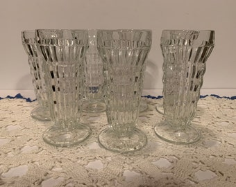1068# Made in USA. Signed Homco Footed Diamond Pattern Glass