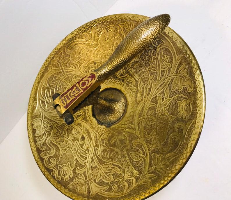 Nut Bowl Tamar Vintage Brass Nut Cracker Dish Pedestal Shalom Made in Israel