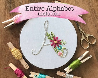 Downloadable PDF embroidery pattern, Monogram,  Embroidery Design, Hoop Art, Hand Embroidery, Modern Embroidery, Adult Craft