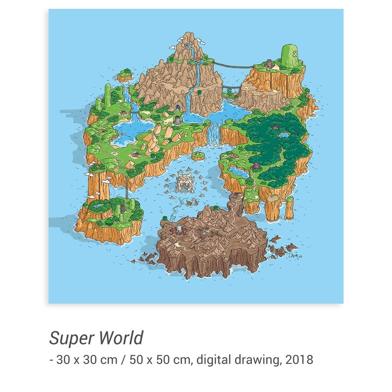 Super World - digital drawing - Super Mario World map - SNES video games -  nostalgia fan art