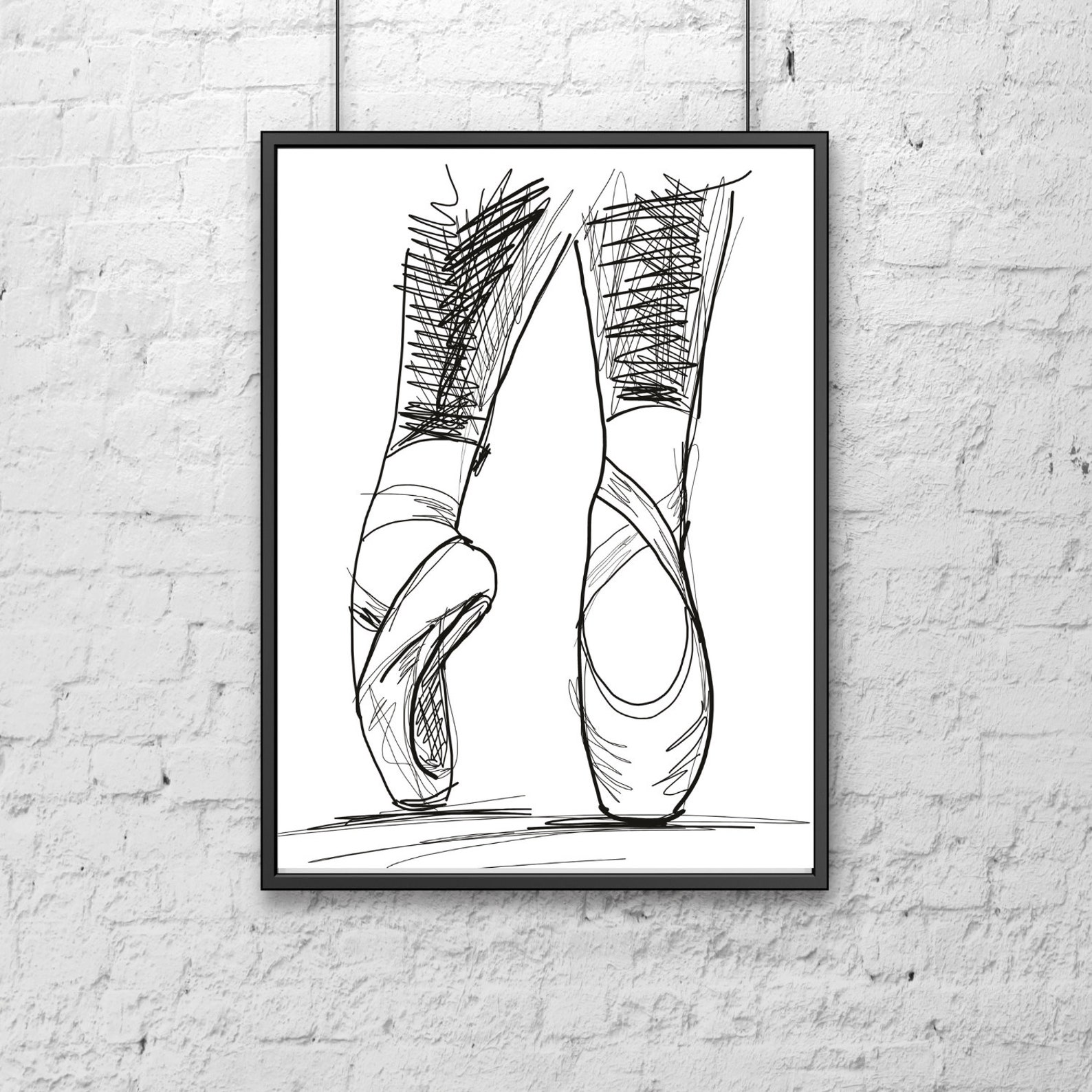 ballet shoes and abstract circles prints ~ set of 2 prints~instant download~large wall art~bed room and living room decor~ballet