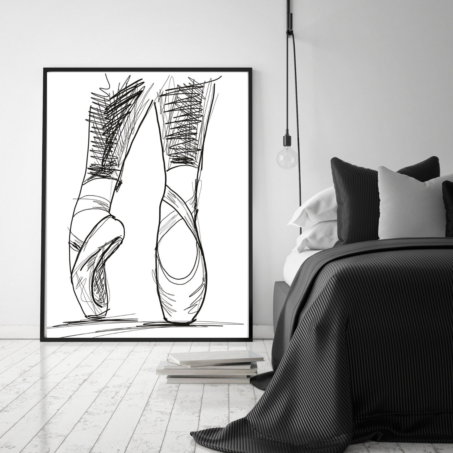 ballet shoes print ~ instant download ~ large wall art canvas print ~ bed room and living room decor ~ ballet dancer gift