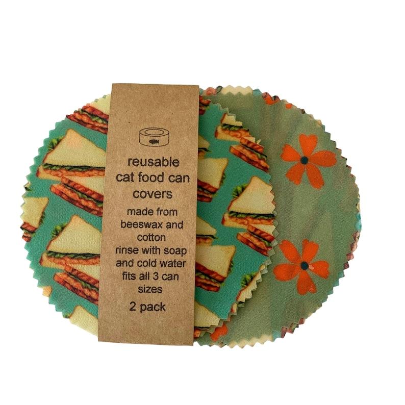 tuna sandwich and retro flower cat food can lids  wax pet image 0