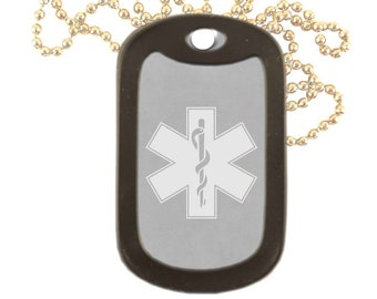 EMT EMS Paramedic Emergency Responder Engraved Matte Stainless Steel Dog Tag  Necklace Add Personal Message Custom Military Dog Tags 73557908383
