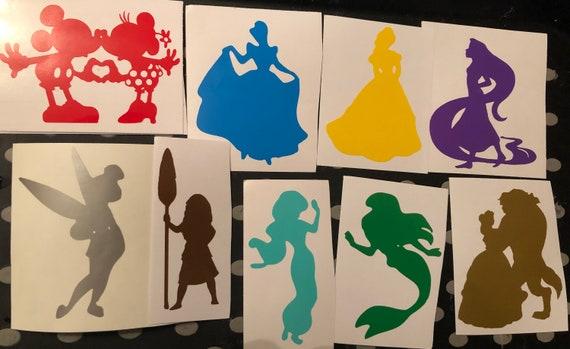 disney character silhouette vinyl decals sticker water bottle glass phone laptop