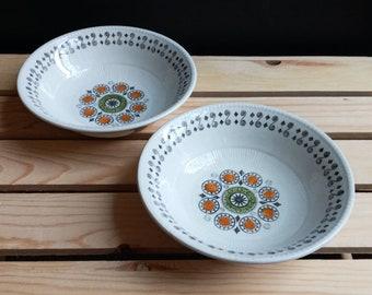 "Set of 2 - Broadhurst Ironstone Renaissance 6-1/4"" Cereal Bowls Kathie Winkle Riviera Shape"