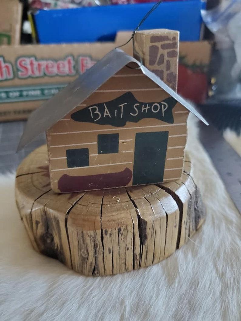 Fishermen Ornament Vintage Woodland Wood Block Bait Shop Christmas ornament