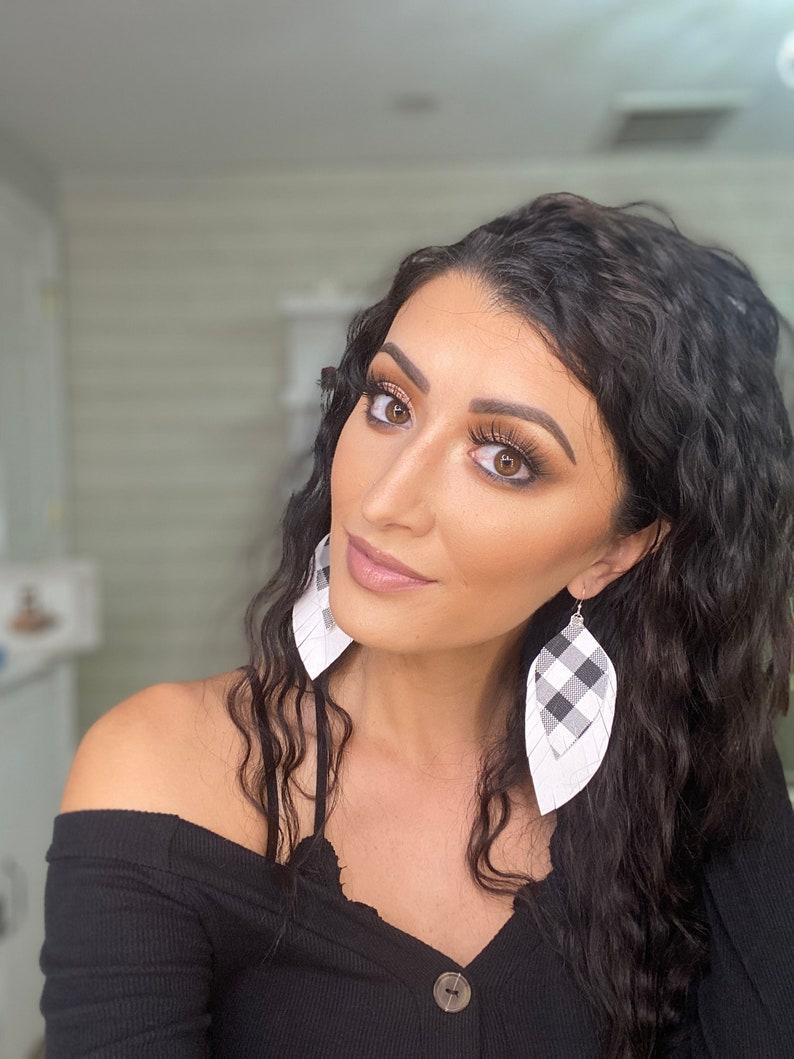 Autumn Jewelry Women/'s Fashion White and Black Plaid Earrings Everyday Style Buffalo Plaid Fall Fashion Fall Earrings