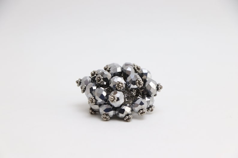 1970\u2019s Silver Beaded Cocktail Ring