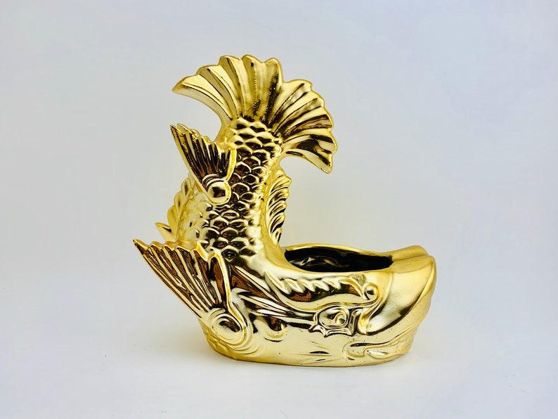 Feng Shui Gold Dragon Fish Ashtray image 0