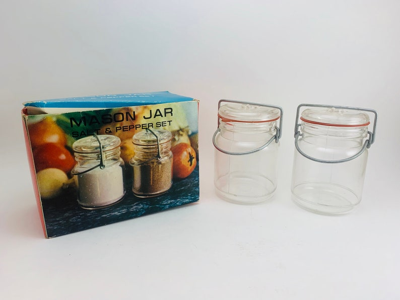 1970s Plastic Mason Jar Salt Pepper Shakers in Box image 0