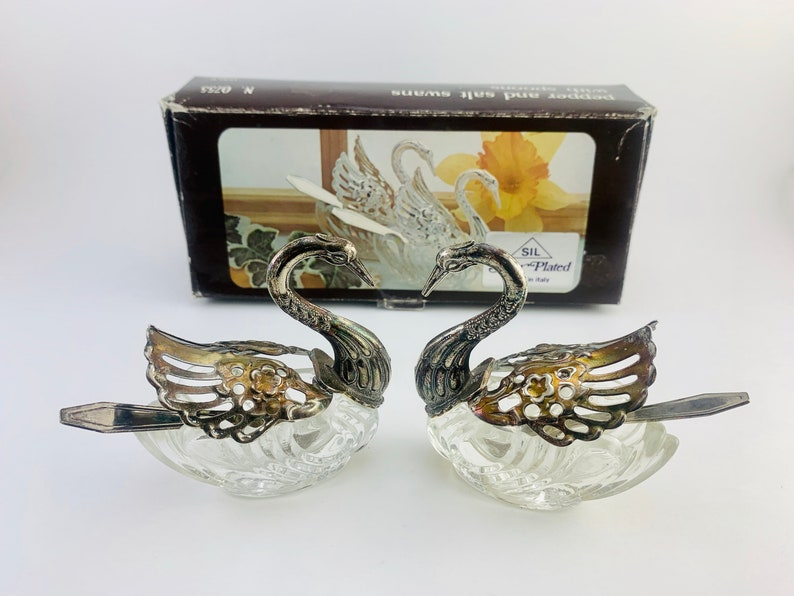 1960s Silver Plated Crystal Swan Pepper and Salt Cellars with image 0
