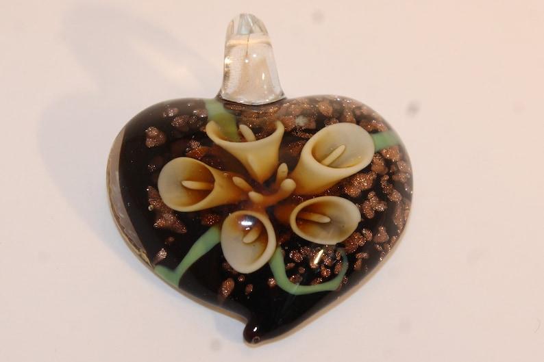 Vintage Venetian Murano glass heart pendant
