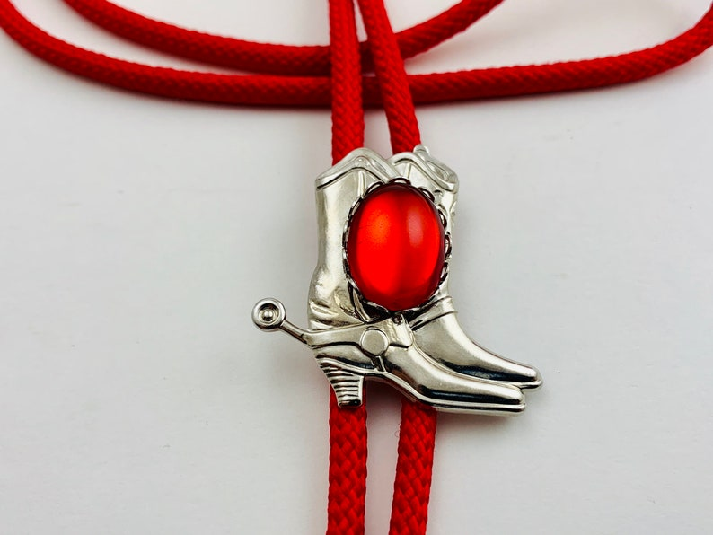 Red Western Bolo Tie with Silver Boots image 0