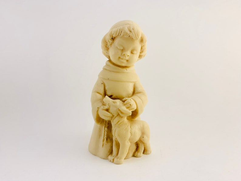 1960s A. Santini Resin Sculpture of Boy and Dog image 0