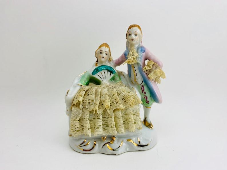1950s Victorian Colonial Couple Lace Porcelain image 0