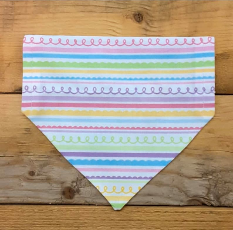 Spring Stripes Dog  Cat Collar Bow Tie OR Dual-Sided Bandana Over-the-Collar Only