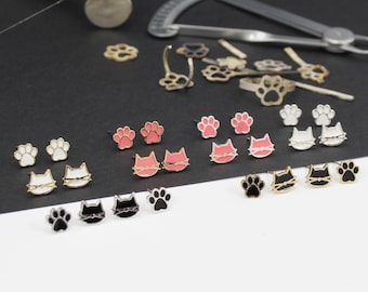 Cat earrings, 2 pair Set, Hypoallergenic Stud, Cat Earrings for Women, Teens Girls, Cat Lovers, Perfect Gift, Black White & Pink Colors