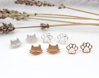 Cute Cat Earrings 2 pair Set, Hypoallergenic Stud Earrings for Women, Teens Girls, Cat Lovers, Perfect Gift, Silver & Rose Gold