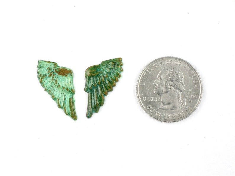 green and blue S20 Pair of Wing Feathers jewelry embellishment supply with natural patina in colors of turquoise 25mm x 12mm