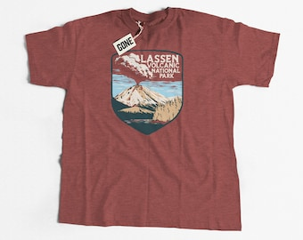82e1a251 Lassen Volcanic National Park Retro Volcano Heather Mauve Short-Sleeve  Unisex T-Shirt