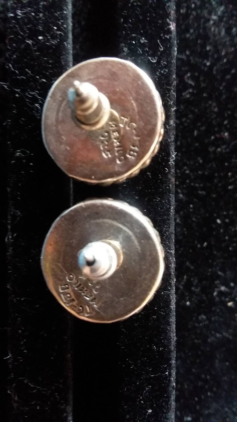 Vintage Taxco Button Earrings FREE SHIPPING