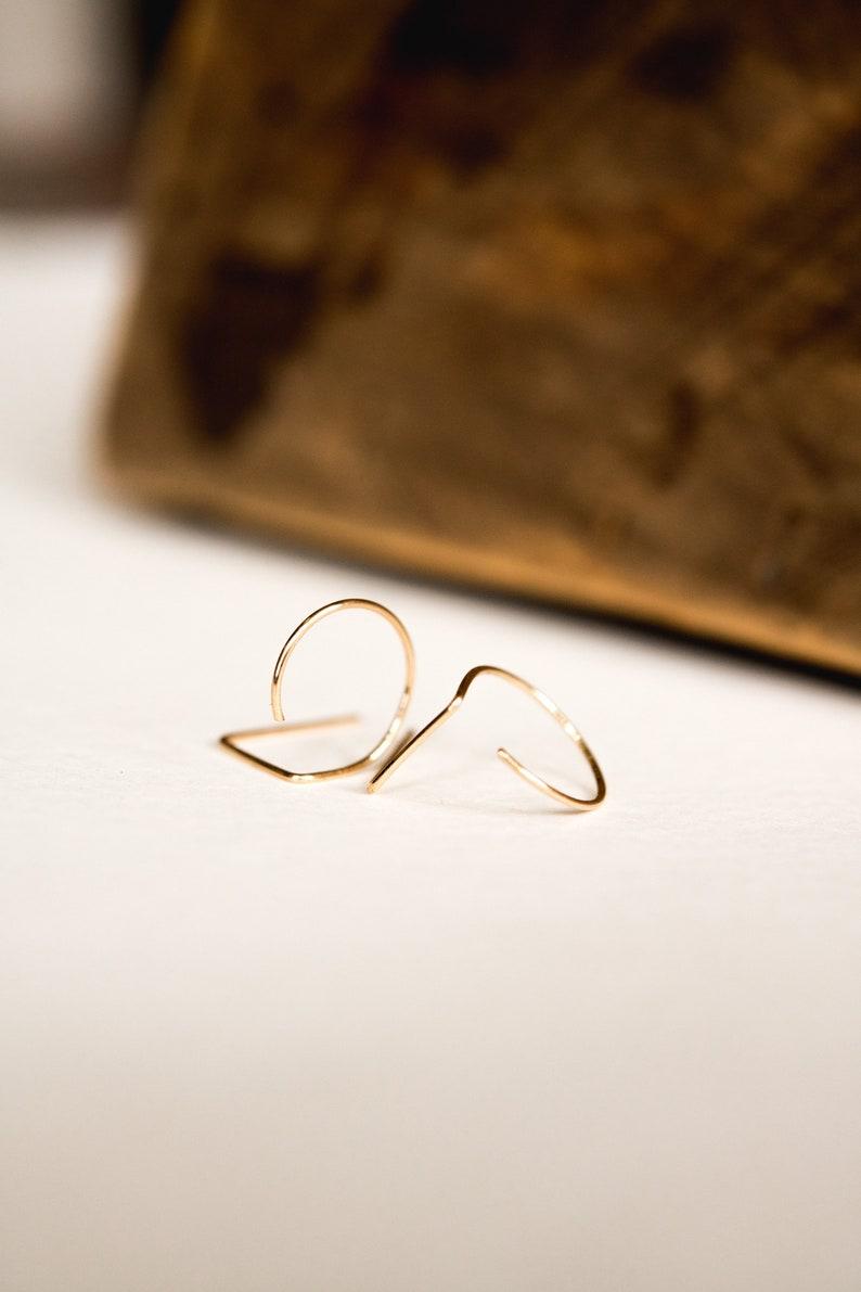 TAYLOR Half hoop lobe hugger double piercing earrings with bar   22 gauge  12k gold fill or sterling silver fill  minimalist modern daint