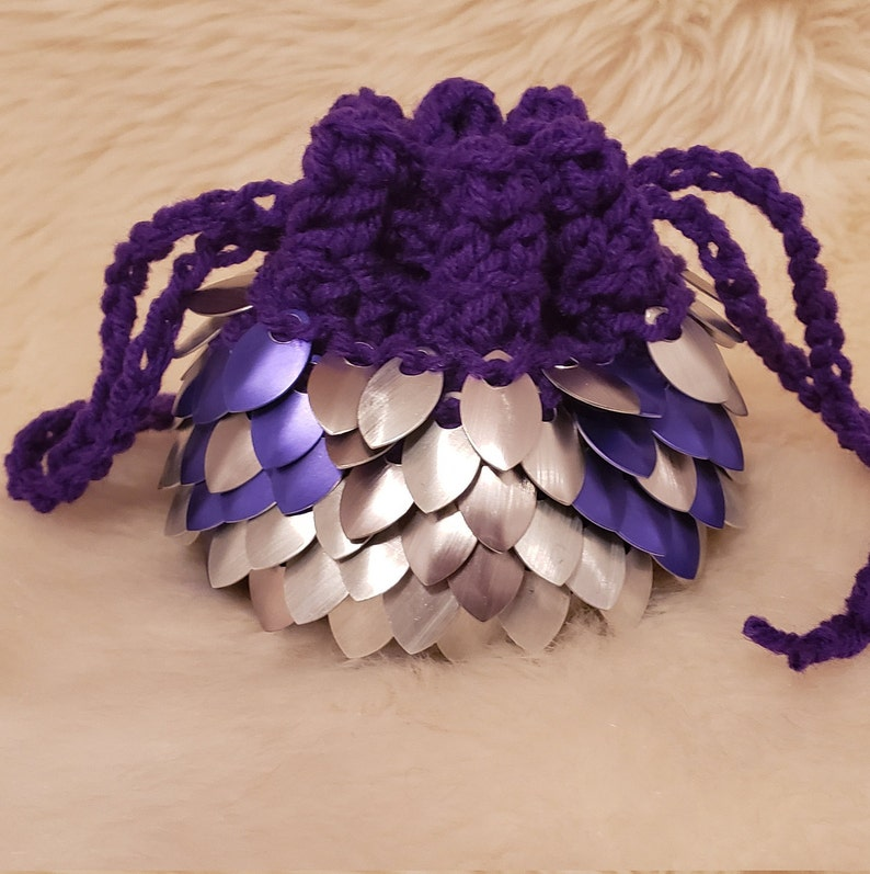 Purple and Silver Dice Bag  Bag of Holding  Dragon Scale  Scale Mail Pouch  D/&D Dice Bag  Scale Mai