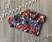 Dog Bandana Over the Collar, Reversible Bandana, Puppy Bandana, Dog Accessories, Dog Bandanas, Dog Gift - Navy Peach Floral