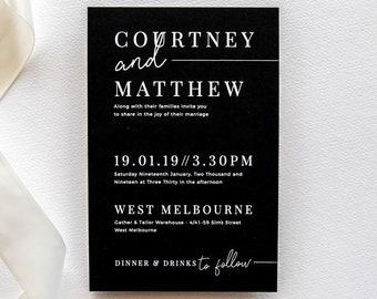 black wedding invite etsy
