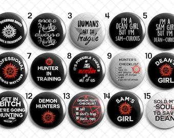 Supernatural SN CW Pins Magnets Dean Sam Castiel Hunter Demon checklist