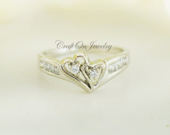 0c3cb8c707 Double Heart Ring, Promise Ring, Love Ring, April Birthstone Ring, Wedding  Ring, Diamond Ring, Gold Ring, Sterling Silver Ring, Heart Ring