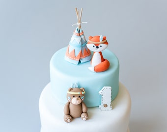 Personalised Cute Sleeping Fox Edible Icing Forest Birthday Party Cake Topper