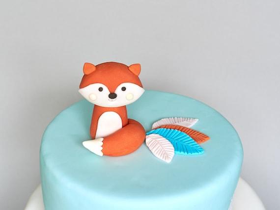 Awesome Woodland Fox Fondant Cake Topper 3D Edible Birthday Cake Etsy Funny Birthday Cards Online Alyptdamsfinfo
