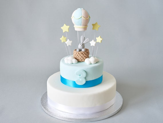 Groovy Hot Air Balloon Bunny Fondant Cake Topper Clouds And Stars Etsy Funny Birthday Cards Online Elaedamsfinfo