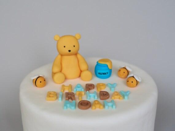 Winnie The Pooh Fondant Cake Topper Happy Birthday Name