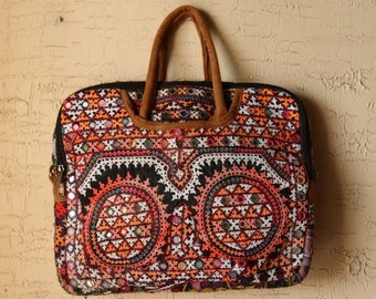 Laptop Tote Bag with Ethnic Floral Pattern with Mandalas Print,Carrying Shoulder Bags Casual Canvas Business Work Tote Bag Briefcase for Computer School Office