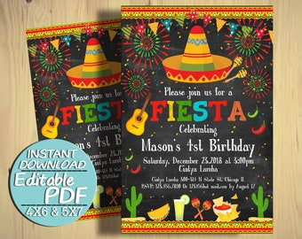 Fiesta Birthday Invitation Mexican Party 1st 2nd 3rd 4th Instant Download J033