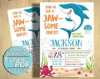 Baby Shark Birthday Invitation Party Invite Invitations Editable PDF J024