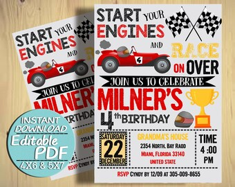 Race Car Birthday Invitations Racing Party Digital File Instant Download Invite Cars Editable PDF Text J034