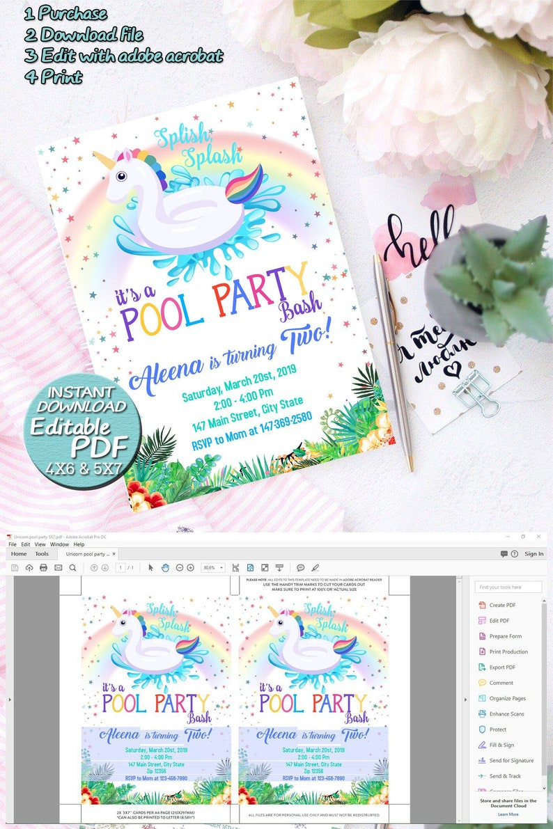Unicorn Pool Party Invitation, Unicorn Pool Party Birthday Invitation -  Edit by your self in home | Editable PDF | INSTANT Download| J063
